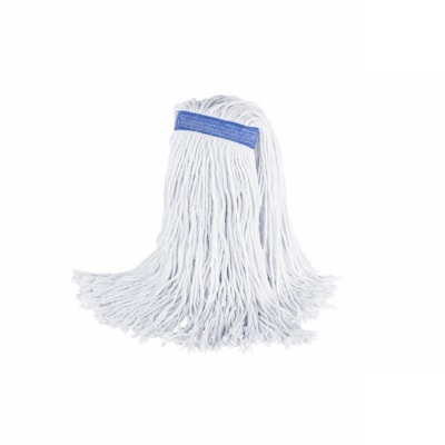 Globe Commercial Products Rayex® Premium Synthetic Rayon Mop N.B. 16 oz Cut End White Bagged QUAD CORE STITCHING 4-PLY YARN AND TRUE WEIGHT MOP
