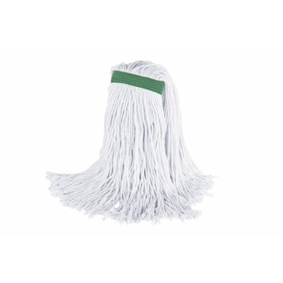 Globe Commercial Products Rayex® Premium Synthetic Rayon Mop with Cut End and Narrow Band, 32 oz, White, Bagged QUAD CORE STITCHING 4-PLY YARN AND TRUE WEIGHT MOP