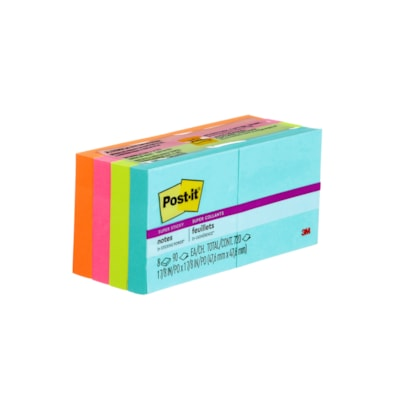 """Post-it Super Sticky Notes in Miami Colour Collection, Unlined, 2"""" x 2"""", Pad of 90 Sheets, Pack of 8 Pads 2X2  8PK"""