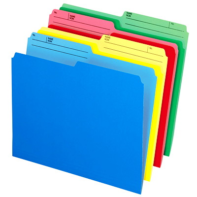 Pendaflex Cutless and WaterShed Coloured File Folders ASSORTED COLOURS