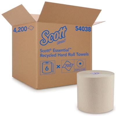 "Scott® 1-Ply Essential Proprietary System Hard Roll Paper Towels, Brown, 700', Carton of 6 8""X700' 6 ROLLS/CARTON"