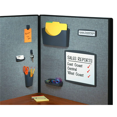Fellowes Partition Additions Name Plate ON PARTITION WALLS 1.625X8IN VIEWBL AREA CUSTOMBL GRAPHITE