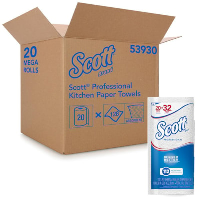 Scott Professional 1-Ply Kitchen Towels, White, Carton of 20 rolls (2,240 Sheets) KITCHEN TOWEL 1 PLY FULL SIZE 11X8.78