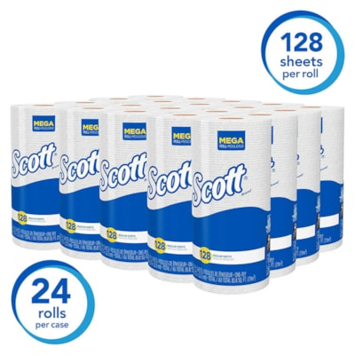 """Scott 1-Ply Absorbent Kitchen Towels, White, Roll of 128 Sheets, Carton of 20 Rolls 125ST/RL  20RL/CS 8.78""""X11"""""""