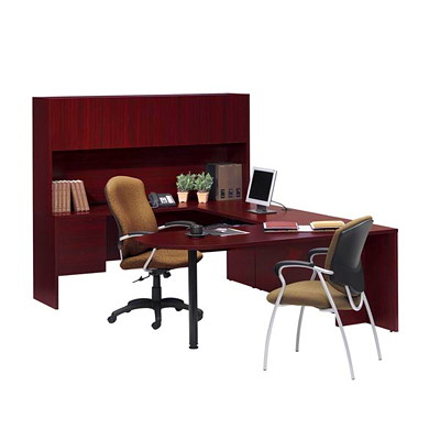 "Global Genoa U-Shaped Desk Package, Quartered Mahogany - Left-Handed Configuration U SHAPED GROUPING 72""WX98""DX65""H GLOBAL"