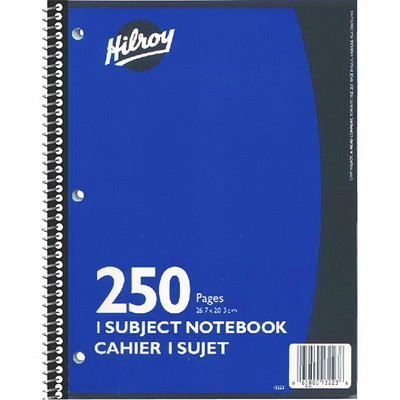 "Hilroy Executive Coil 1-Subject Notebook, Blue, 10 1/2"" x 8"", 250 pages"