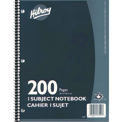 "Hilroy Executive Coil 1-Subject Notebook, Assorted Colours (No Colour Choice On Delivered Orders), 10 1/2"" x 8"", 200 pages 1 SUBJECT 200 PAGES.HILROY ASST COLOURS"