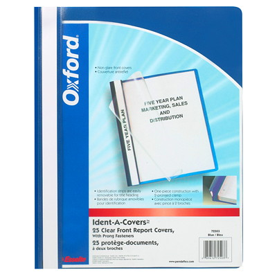"Oxford Ident-A-Cover Report Covers 1/2""PAPER CAPACITY ADJ. PLASTIC STRIP PRONGS"
