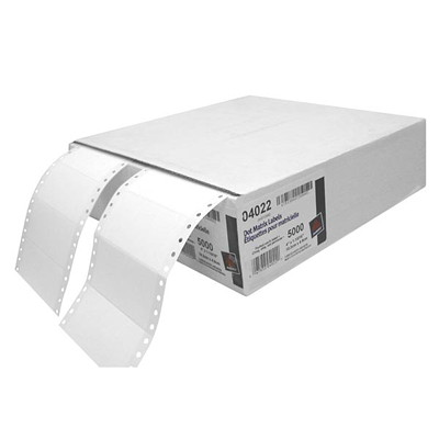 "Avery 4022 Continuous Form Computer Address/Mailing Labels, White, 4"" x 1 15/16"", 5,000 Labels/BX  SINGLE WIDTH FAN FOLDED AVERY 5000/BX"
