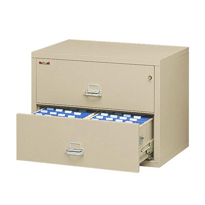 "FireKing Insulated Lateral File, 2-Drawer, Parchment  FIREPROOF PARCHMENT 455LB 31-1/8WX22-1/8HX27-3/4""D"