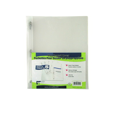 Winnable Clear Poly Report Cover with Fasteners COVER WITH FASTENERS HOLDS 80 PAGES CLEAR PACK/5
