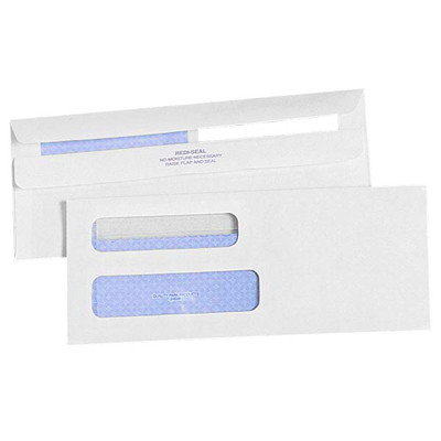Quality Park Double-Window White Cheque-Size Business Envelopes  #8 FOR STANDARD 3 1/2X8 1/2 CHEQUES 500/BX REDI SEAL