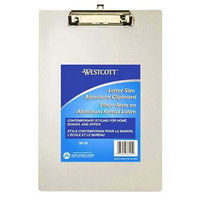 "Westcott Aluminum Clipboards 9"" x 12"" ALUMINUM SILVER  RUBBER GRIPS DURABLE STEEL CLIPS"
