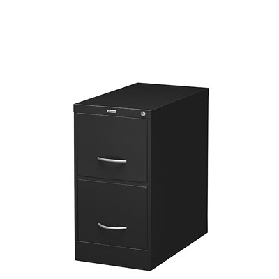 """Grand & Toy Vertical File, 2-Drawer, Black, Legal-Size, 18"""" x 26 9/16"""" x 29"""" LOCK INCL CRESCENT PULL HANDLE HIGH SIDE WALLS FOR HANG. FILE"""