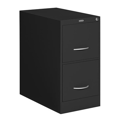 "Grand & Toy Vertical File, 2-Drawer, Black, Letter-Size, 15"" x 26 9/16"" x 29"" LOCK INCL CRESCENT PULL HANDLE HIGH SIDE WALLS FOR HANG.FILES"