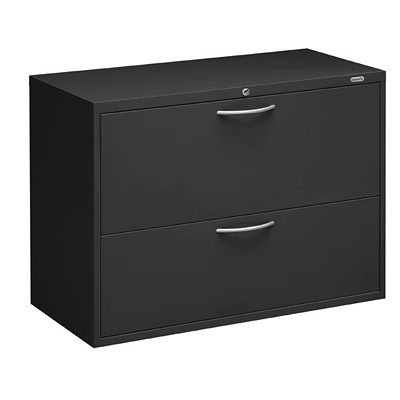 "Grand & Toy Lateral File, 2 Drawer, Black, Letter/Legal, 36"" x 18"" x 27 1/8"" FIXED FRT DRS  SIDE TO SD BARS LOCK  BLACK (BLK)"