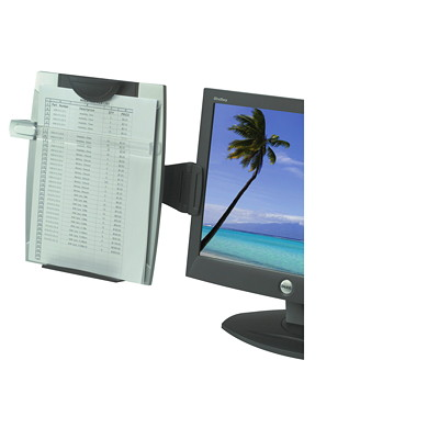 Fellowes Office Suites Monitor Mount Copyholder HOLDER FOR CRT OR LCD MOUNTS L TO RIGHT ADJ TILT BLK/SILVER