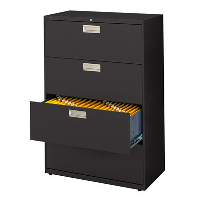 "Global 9300 Series Lateral File, 4-Drawer, 36""W, Black W/LOCK   BARS  FIXED FRONT 36""WX18""DX54""H"