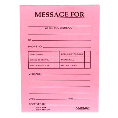 "Grand & Toy Phone Message Pads, Pink, 4 1/4"" x 5 1/2"", 10/PK 4 ¼ X 5 ½ BLACK PRINT 72/PAD"