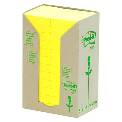 "Post-it 100% Recycled Note Tower Packs, Canary Yellow, 1 1/2"" x 2"", 100 Sheets/Pad, 24 Pads/PK YELLOW 1.5 X 2 24 PADS 100% RECYCLED BLUE ANGEL CERTIFIED"