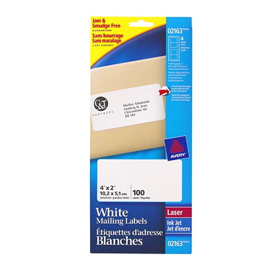 Avery White Mini-Sheet Address/Mailing Labels  4/MINI SHEET 25 SHEET/PK