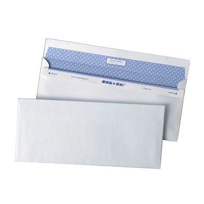 Quality Park Reveal-N-Seal Security-Tinted White Business Envelopes SEALS WITHOUT MOISTURE 500 PER BOX