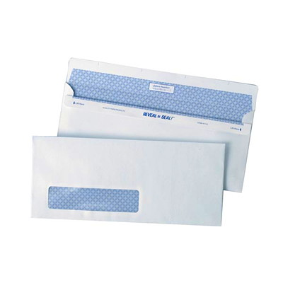 Quality Park Reveal-N-Seal Security-Tinted White Business Envelopes WITH WINDOW SEALS WITHOUT MOISTURE 500 PER BOX