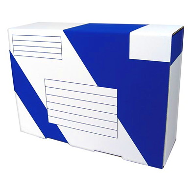 "Crownhill Packaging Heavy-Duty Mailing Boxes, White/Blue, 13 1/2"" x 4 1/2"" x 9 1/2"" 13.5""L X 9.5""W X 4 INCL TAPE"