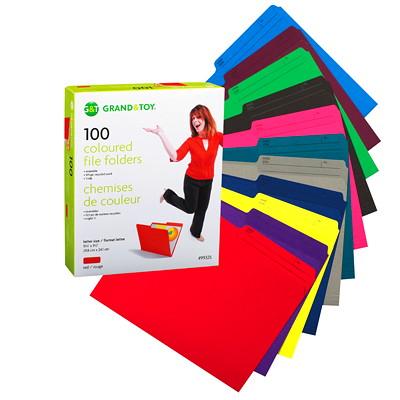 Chemises de couleur Grand & Toy, vert, format lettre, boîte de 100 DEMI ONGLETS RÉVERSIBLE RAINÉ POUR EXPANSION
