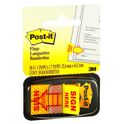 Post-it Pre-printed Sign Here Flags with Dispenser, 50 Flags/PK REMOVABLE TRANSPARENT TO MARK WHERE TO SIGN 50/DISPENSER
