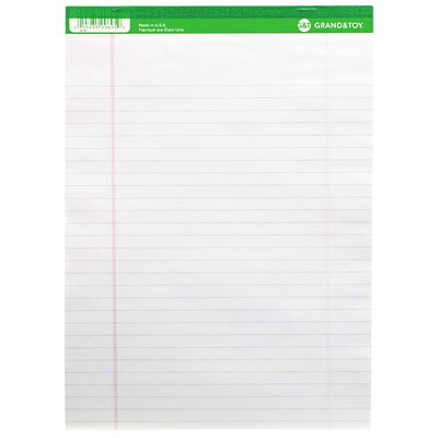"""Grand & Toy Micro-Perforated Letter-Size Business Pads, White with Wide Rule, 8 1/2"""" x 11"""", 10 Pads/PK MICRO PERFORATED 50 SHTS X 10PADS PER PACKAGE"""