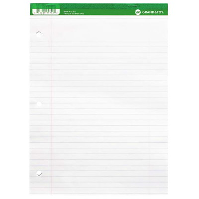 "Grand & Toy Micro-Perforated Letter-Size Business Pads, White with Wide Rule, 8 1/2"" x 11"", 10 Pads/PK PUNCHED MICRO-PERFORATED 50 SHTS X 10PADS PER PACKAGE"