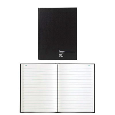 "Blueline A796 Series 10 1/4"" x 7 11/16"" Account Book STIFF BLK COVER WHT PAPER 200P 30 LINES 50% RECYCLED BLUELINE"