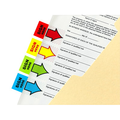 Post-it Pre-Printed With Sign Here Flags with Dispenser, 50 Flags/PK OVERWRAP 50 PER PKG