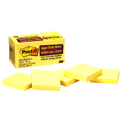 """Post-it Super Sticky Notes, Unlined, Canary Yellow, 2"""" x 2"""", 90 Sheets/Pad, 10 Pads/PK YELLOW"""