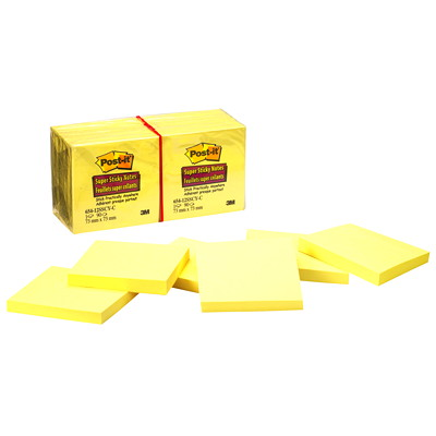 "Post-it Super Sticky Notes, Unlined, Canary Yellow, 3"" x 3"", 90 Sheets/Pad, 12 Pads/PK"