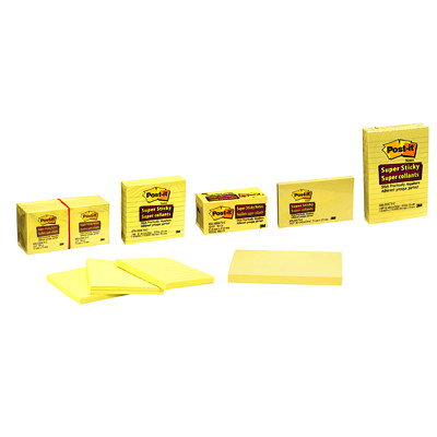 """Post-it Super Sticky Notes, Lined, Canary Yellow, 4"""" x 6"""", 90 Sheets/Pad, 3 Pads/PK 4X6 CANARY YELLOW LINED PK/3"""