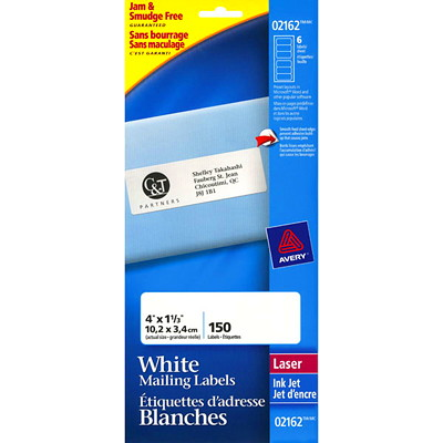 "Avery 2162 Mini-Sheet Address/Mailing Labels, White, 4"" x 1 1/3"", 6 Labels/Sheet, 25 Sheets/PK 150 LABELS/PKG LASER & INKJET COMPATIBLE"