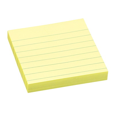 "Post-it Original Lined Notes, Canary Yellow, 3"" x 3"", 100 Sheets/Pad, 6 Pads/PK 100SHTS/PAD"