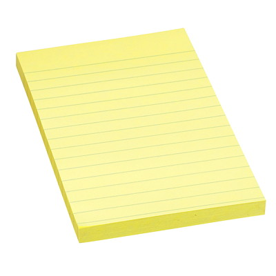 """Post-it Original Lined Notes, Canary Yellow, 3 7/8"""" x 5 7/8"""", 100 Sheets/Pad REMOVABLE STICKS TO MOST SURFACES 100/PAD"""
