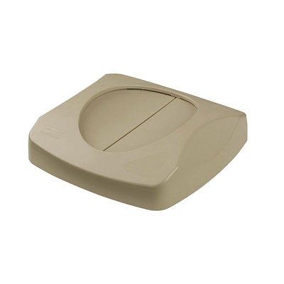 Rubbermaid Commercial Untouchable 23-Gallon Capacity Container Lid, Swing Top, Beige
