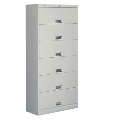 HON Closed High-Density Filing Cabinet W/RELEDING DOORS-6 DOUBLE WALL W/LOCK 36X13-3/4X75-7/8