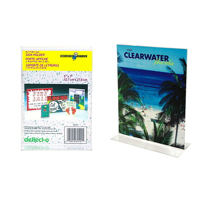 """Deflecto Clear Sign Holder For letter-size (8 1/2"""" x 11"""") Literature 8.5X11 PORTRAIT FOR COUNTERTOP LITERATURE SLIDES IN FROM BTTM"""