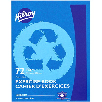 Hilroy Recycled Exercise Book  LT. BLUE  72 PGS  9-1/8X7-1/8 50% REC. W/30% POST CNSMR WST