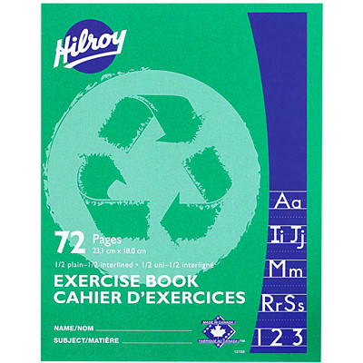 Hilroy Recycled Exercise Book  1/2 INTERLINED  72PGS  GREEN 9-1/8 X 7-1/8