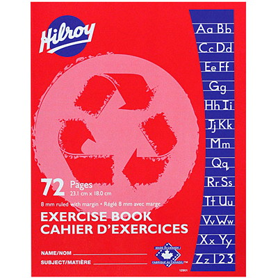 Hilroy Recycled Exercise Book  W/ MARGIN RED  72PGS  RED 9-1/8 X 7-1/8