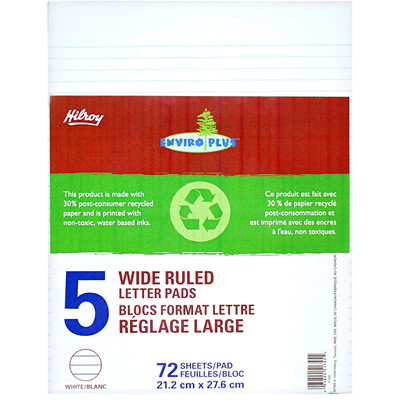Hilroy Figuring Pads WIDE RULED 72SHTS PER PAD 50% RECYCLED W/20%PCW