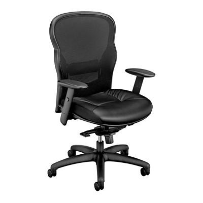 BASYX MESH HB KNEE TILTER BLK BLACK MESH BACK W/LEATHER SEAT SYNCHRONIZED KNEE TILT