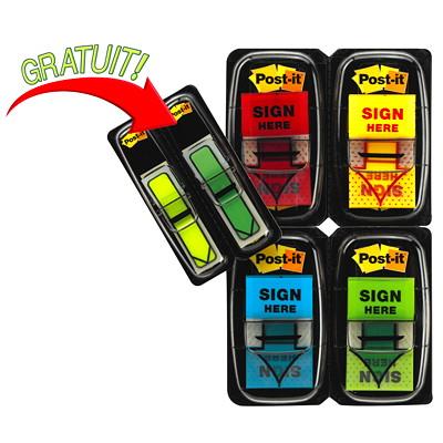 Languettes adhésives avec message «SIGN HERE» Post-it, emb. de 200, 2 distributeurs de languettes avec flèche en prime ÉCONOMIQUE 4 BLOCS DE 50 CHAC. 48 LANGUETTES-FLÈCHE EN PRIME