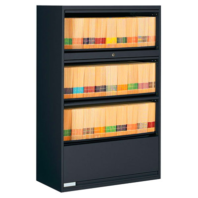 Global 9100 Plus Series 4-High End Tab Filing Cabinet BLACK  GLOBAL